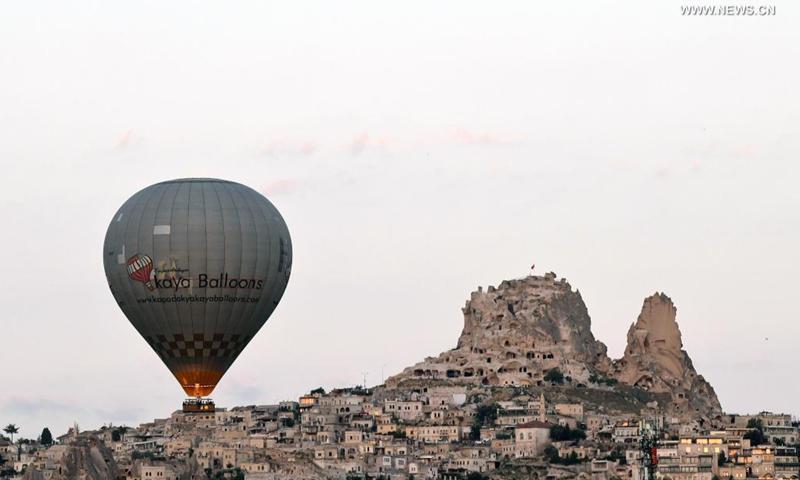 Hot-air balloons fly over Cappadocia, Turkey, on July 18, 2021.(Photo: Xinhua)