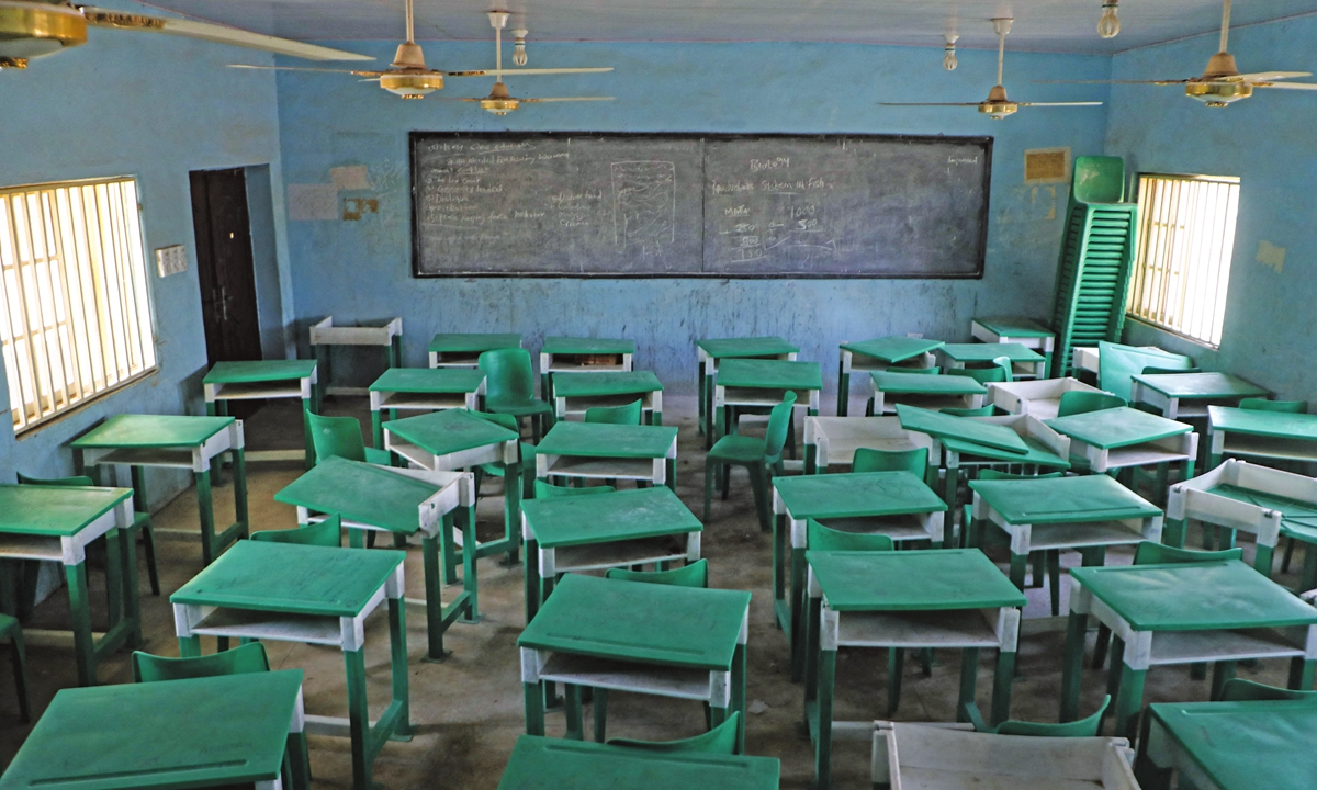 A classroom at the Government Girls Secondary School, the day after the abduction in Nigeria on February 27 Photo: AFP