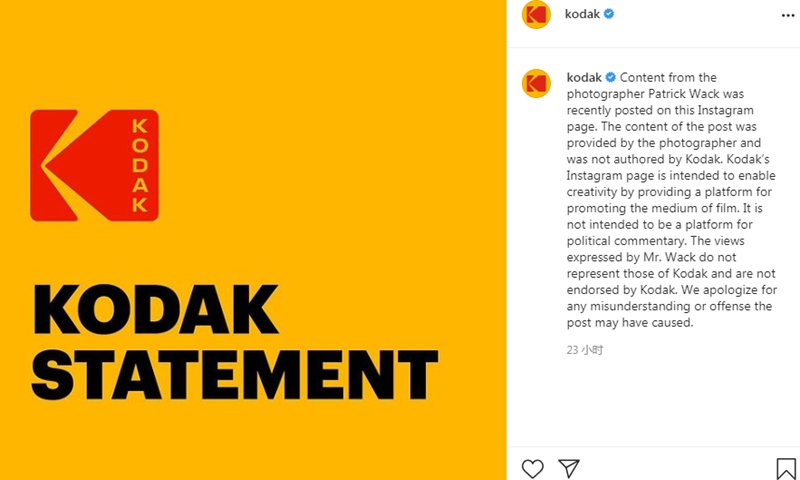 The apology by Kodak on Instagram on Tuesday. Photo: a screenshot of the statement on Instagrm