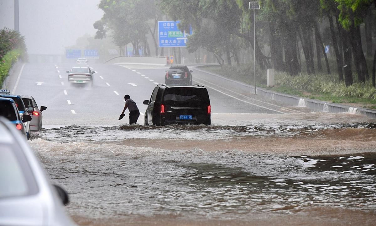 Heavy rainfall hits Shenzhen, South China's Guangdong Province on July 20, 2021. Photo: CFP