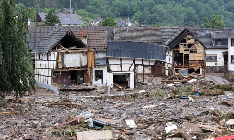 Photo taken on July 16, 2021 shows roads and houses damaged in flood disaster in Schuld, Germany.(Photo: Xinhua)