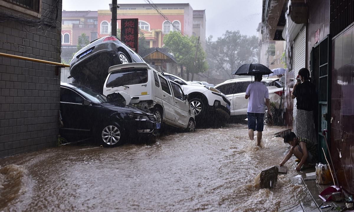 Heavy rainfall hits Zhengzhou, Central China's Henan Province on July 20, 2021. Photo: CFP
