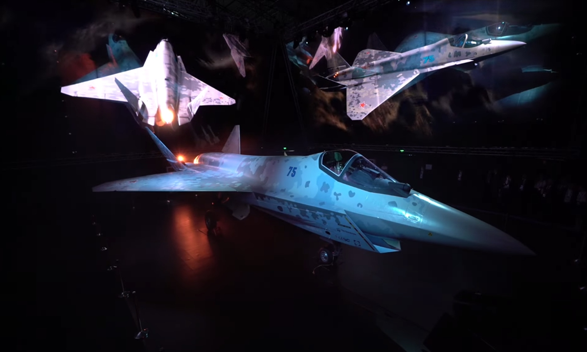A prototype of Russia's new stealth fighter jet, the Checkmate, is displayed at the MAKS-2021 International Aviation and Space Salon in in Zhukovsky, outside Moscow on July 20, 2021. Photo: Screenshot from YouTube account of Rostec