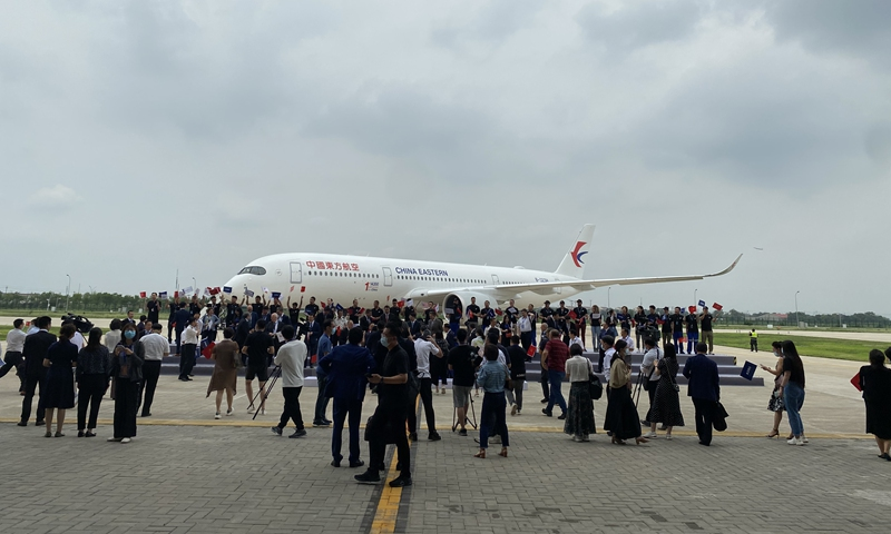 Airbus (Tianjin) widebody completion and delivery center A350 project inauguration and first aircraft delivery ceremony held in North China's Tianjin on Wednesday Photo: Tu Lei/GT