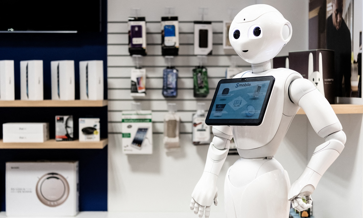 A view of SoftBank's Pepper robot in Paris in January 2021 Photos: AFP