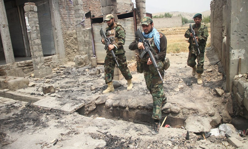 Afghan security force members take part in a military operation against Taliban militants in Alishing district of Laghman province, eastern Afghanistan, on July 12, 2021.(Photo: Xinhua)