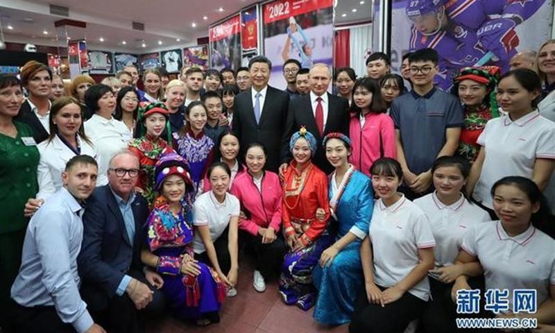 "President Xi Jinping and Russian President Vladimir Putin visit the All-Russian Children's Center ""Ocean,"" 2018."