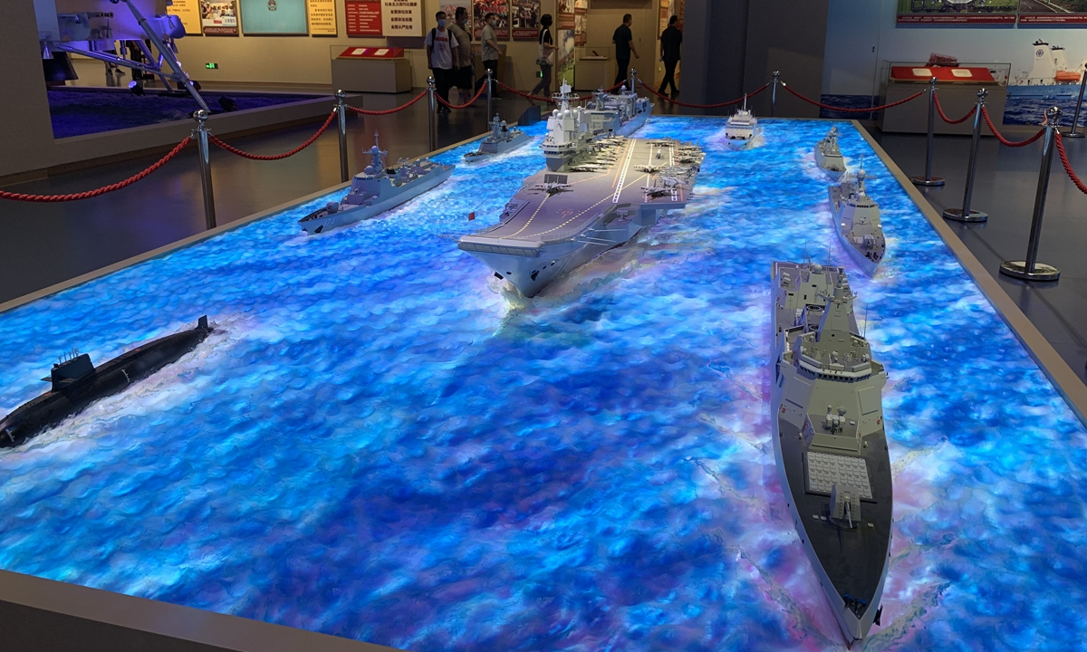Scale models of the <em>Shandong</em> aircraft carrier combat group are on display at the Museum of the Communist Party of China in Beijing in July, 2021. Photo: GT