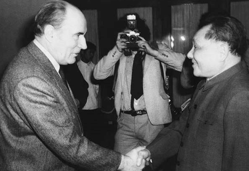 Deng Xiaoping meeting President Mitterrand at the Great Hall of the People on May 5, 1983