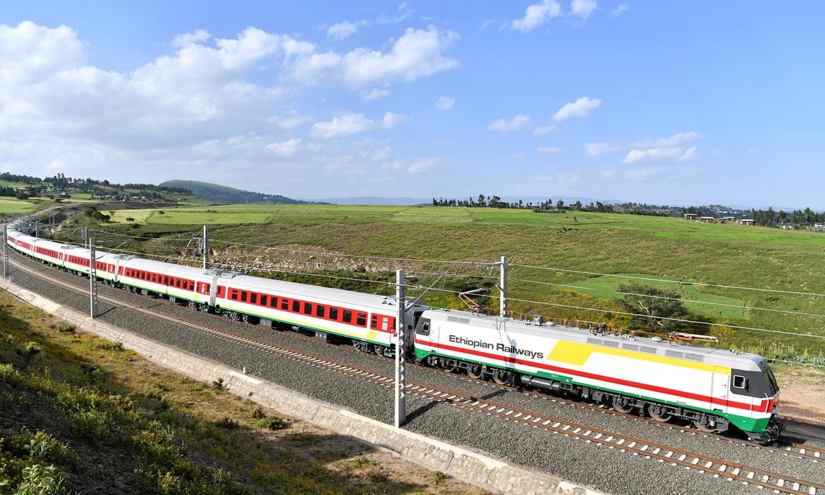A train runs on the Addis Ababa-Djibouti Railway. Photo: Xinhua