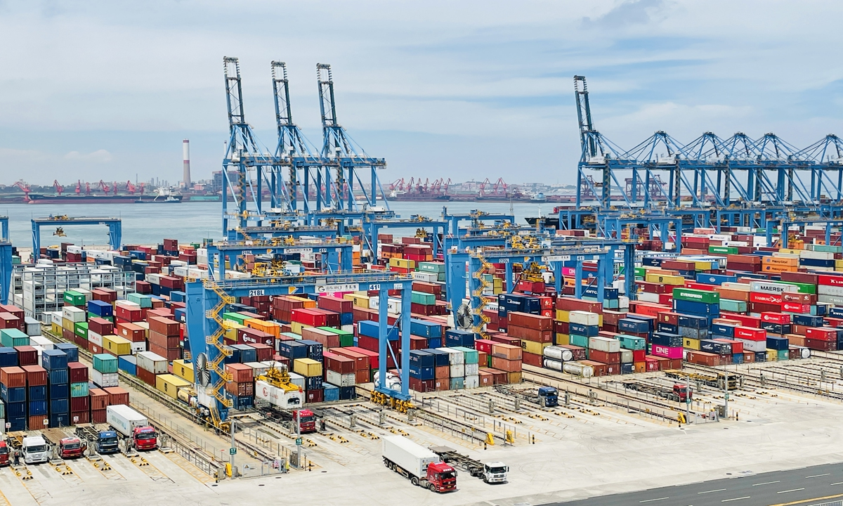 An automated container terminal in Qingdao, East China's Shandong Province on July 23, 2021 Photo: Chi Jingyi/GT