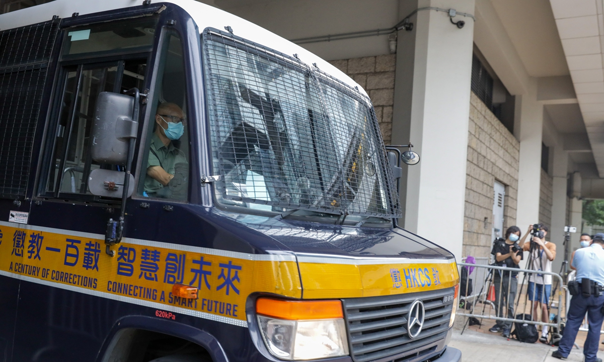 A prison van carrying Leon Tong Ying-kit leaves a court in Hong Kong on Tuesday after Tong, 24, was found guilty of inciting secessionism and terrorism under the national security law for Hong Kong. Photo: cnsphoto
