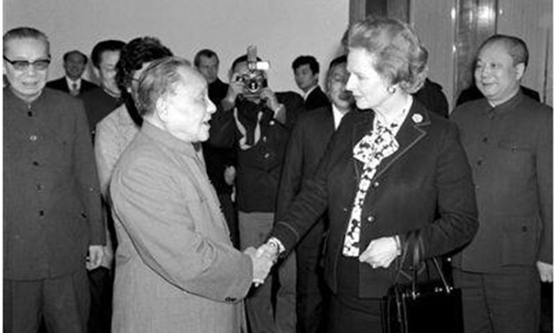 Deng Xiaoping and Margaret Thatcher