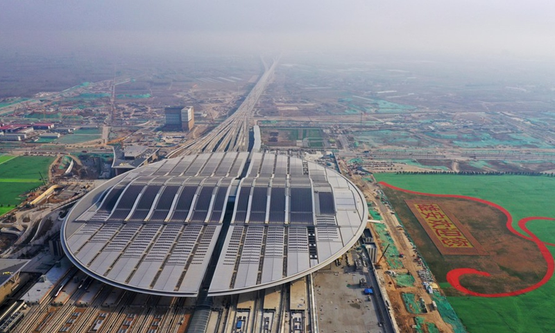 Aerial photo taken on April 1, 2021 shows the Xiongan Railway Station of the Beijing-Xiongan intercity railway in Xiongan New Area, north China's Hebei Province.Photo:Xinhua