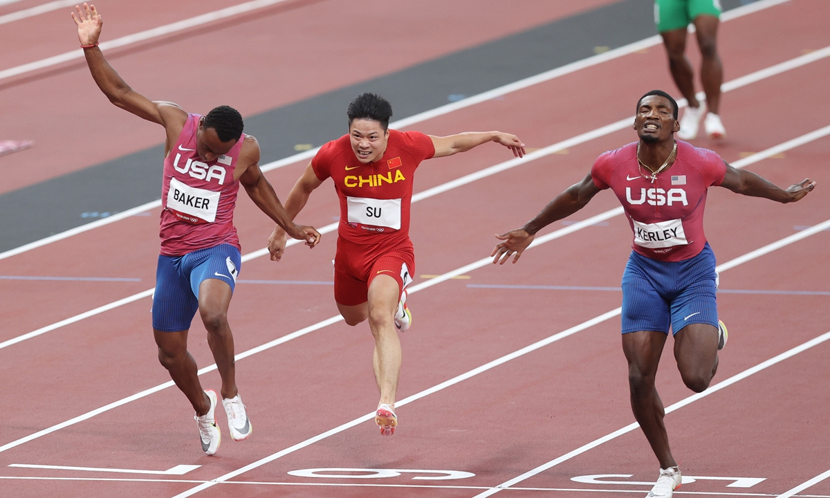 Chinese sprinter Su Bingtian (center) competes in the men's 100 meters final at the Tokyo Olympics on Sunday. Photo: Cui Meng/GT