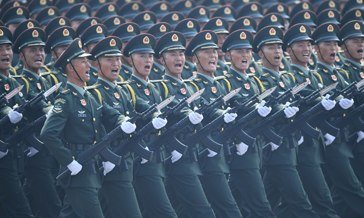 A formation of the People's Liberation Army (PLA) Army takes part in a military parade celebrating the 70th founding anniversary of the People's Republic of China in Beijing, capital of China, Oct. 1, 2019.(Photo: Xinhua)