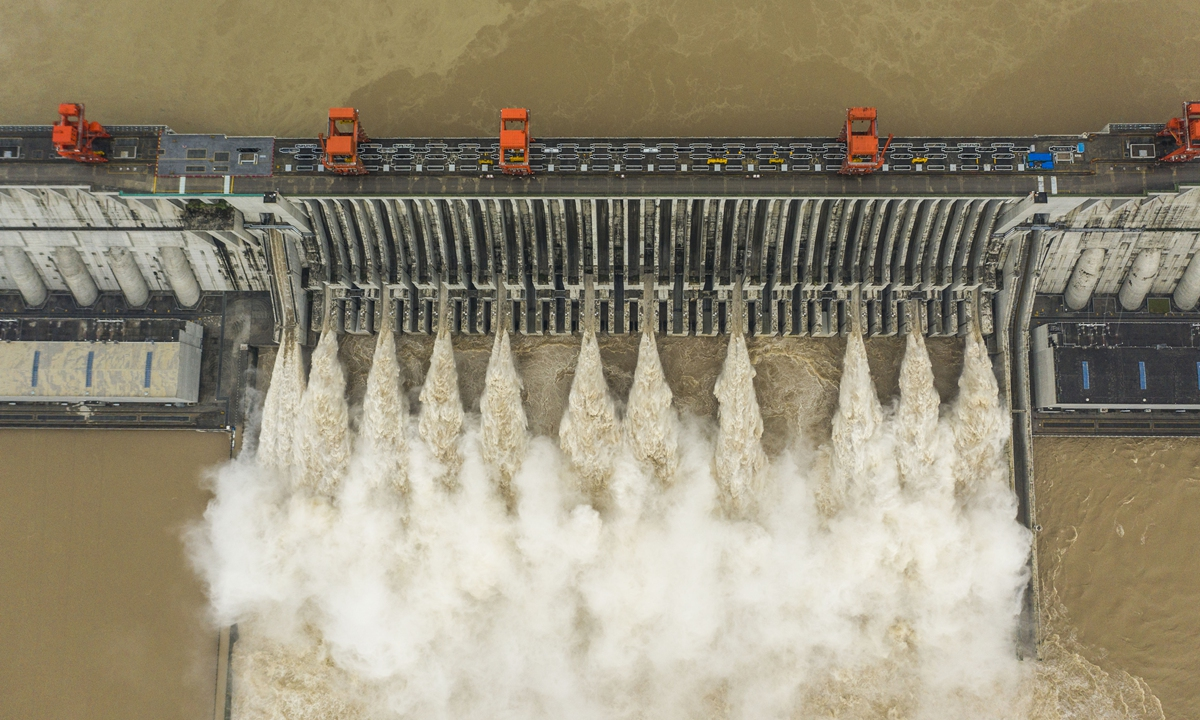 The Three Gorges Dam in Yichang, Central China's Hubei Province, opens 11 release valves to discharge water on August 20, 2020, to cope with the biggest flood since the construction of the dam. Photo: VCG