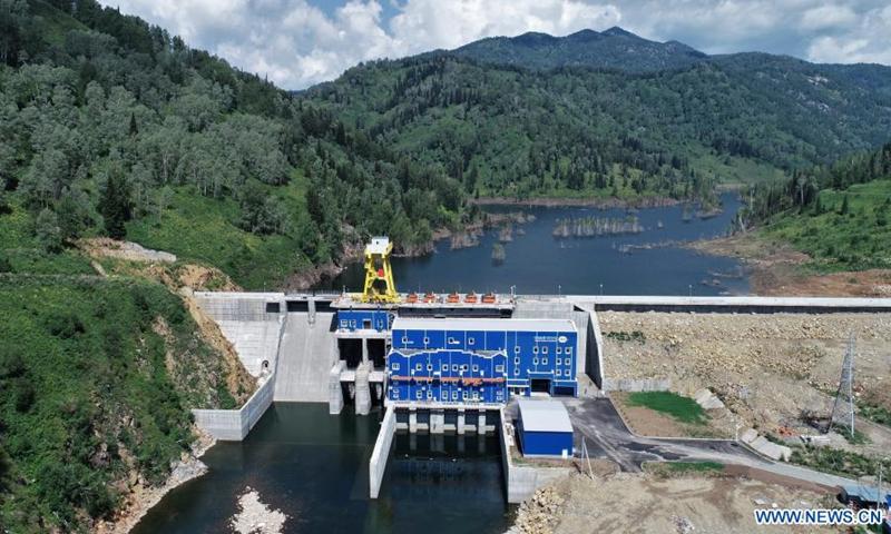 Photo taken on July 28, 2021 shows a view of the China-built Turgusun hydropower station on the Turgusun River near the city of Altai, Kazakhstan.Photo:Xinhua
