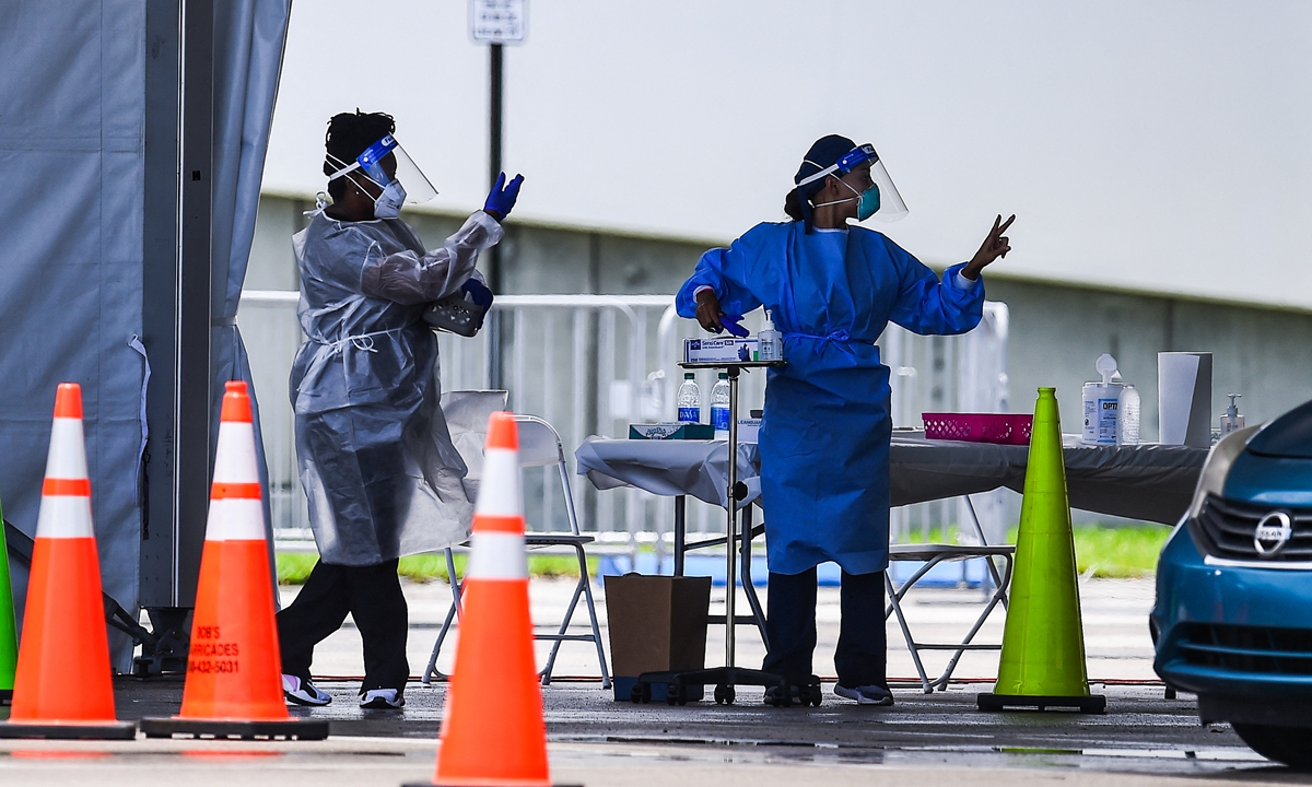 Medical staff prepare to administer a rapid antigen COVID-19 test in Miami, Florida on August 5, 2020. Photo: AFP