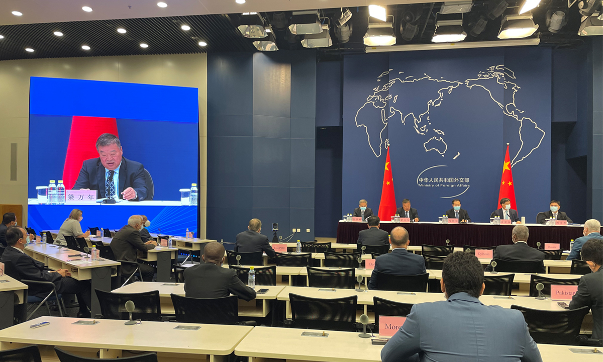 Liang Wannian, team leader of the Chinese side of the WHO-convened joint expert team, told at a briefing with foreign officials on China's efforts in COVID-19 origins study. Photo: Chen Qingqing/GT