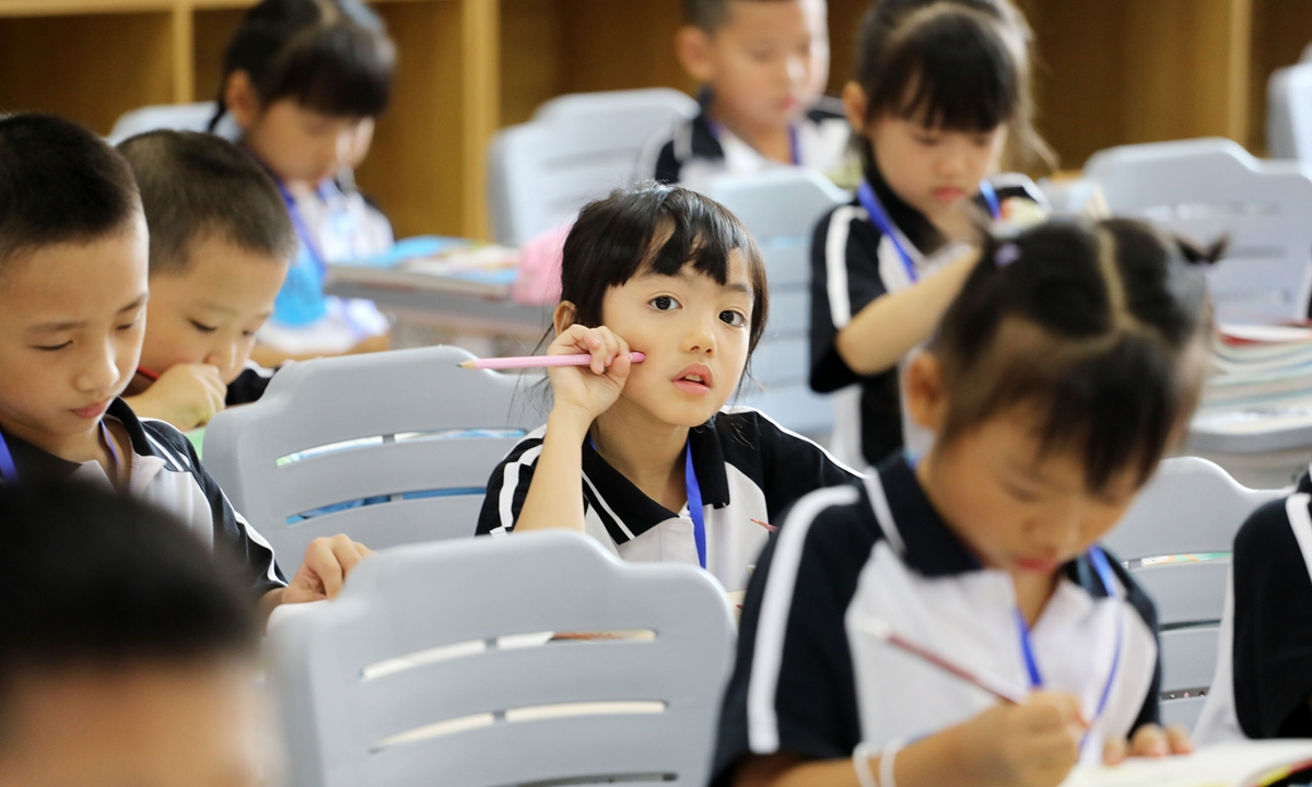 Students at Beijiao Qunli Primary School in Foshan, South China's Guangdong Province  Photo: IC