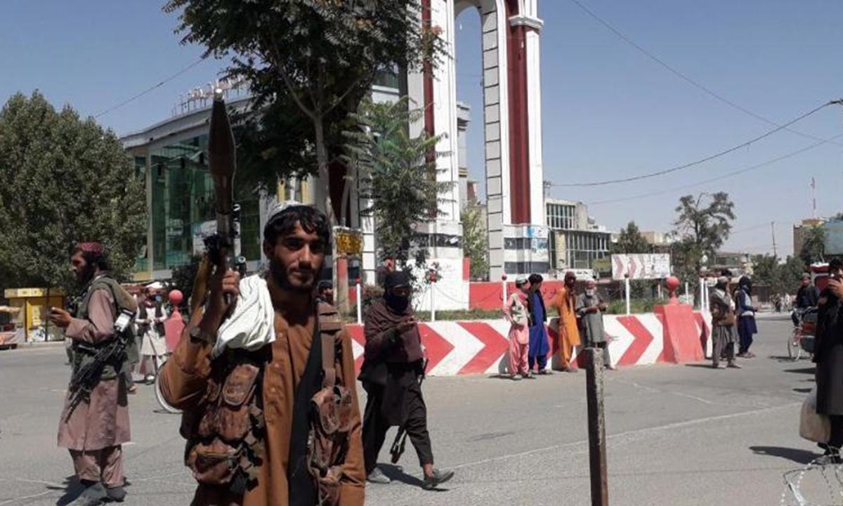 Taliban militants are seen inside the Ghazni city, eastern Afghanistan on Thursday. Photo: Xinhua