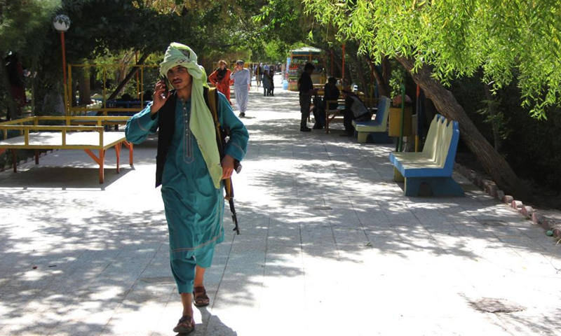 A Taliban militant is seen in Herat province, Afghanistan, Aug. 13, 2021. The Afghan Taliban said their members overran three more provincial capitals on Friday, after they have taken control over a dozen cities within a week.Photo:Xinhua