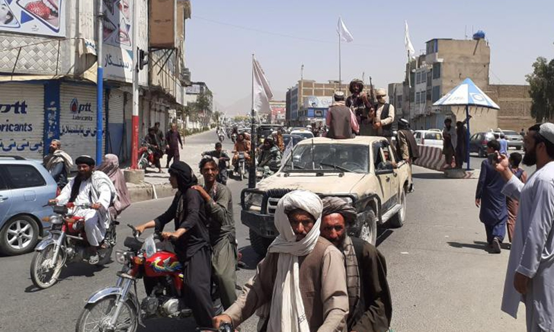 Taliban militants are seen inside the Kandahar city, southern Afghanistan, Aug. 13, 2021. Taliban militants on Friday claimed to have taken control over key southern Afghan cities of Lashkar Gah and Kandahar, after weeks of heavy clashes between the Taliban and government forces.Photo:Xinhua
