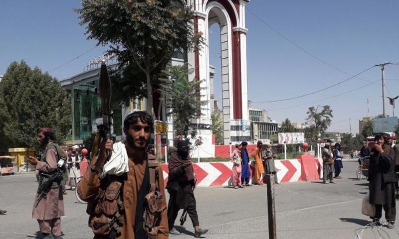 Taliban militants are seen inside the Ghazni city, eastern Afghanistan, Aug. 12, 2021. Taliban militants Thursday overran Afghanistan's eastern Ghazni province's capital city Ghazni, 150 km from the national capital Kabul, provincial council member Hasan Reza Yusufi said.Photo:Xinhua