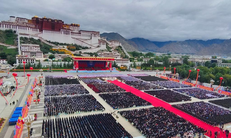 A grand gathering is held to celebrate the 70th anniversary of the peaceful liberation of Tibet at the Potala Palace square in Lhasa, southwest China's Tibet Autonomous Region, Aug. 19, 2021. More than 20,000 people from various ethnic groups attended the event held in Lhasa.Photo:Xinhua