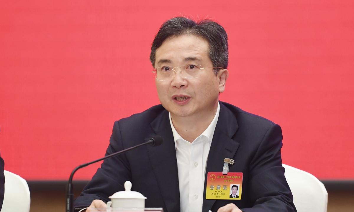 Zhou Jiangyong, Party chief of Hangzhou in East China's Zhejiang Province Photo: cnsphoto