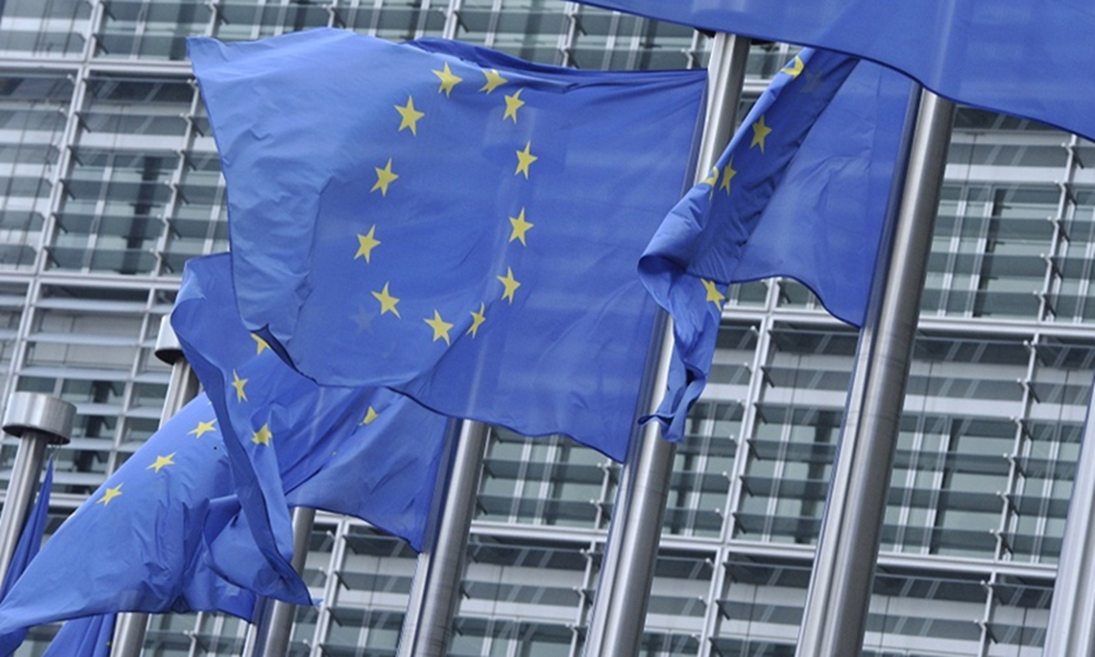 The European Union flags in front of EU headquarters in Brussels, Belgium. Photo: Xinhua