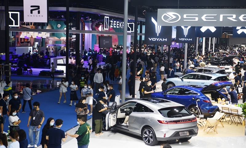 Chinese new-energy vehicle (NEV) makers display their latest models at the Chengdu Motor Show 2021 in Southwest China's Sichuan Province on Sunday. Data from the China Association of Automobile Manufacturers shows that from January to July, the production of NEVs reached 1.504 million units, with sales reaching 1.478 million. Photo: VCG