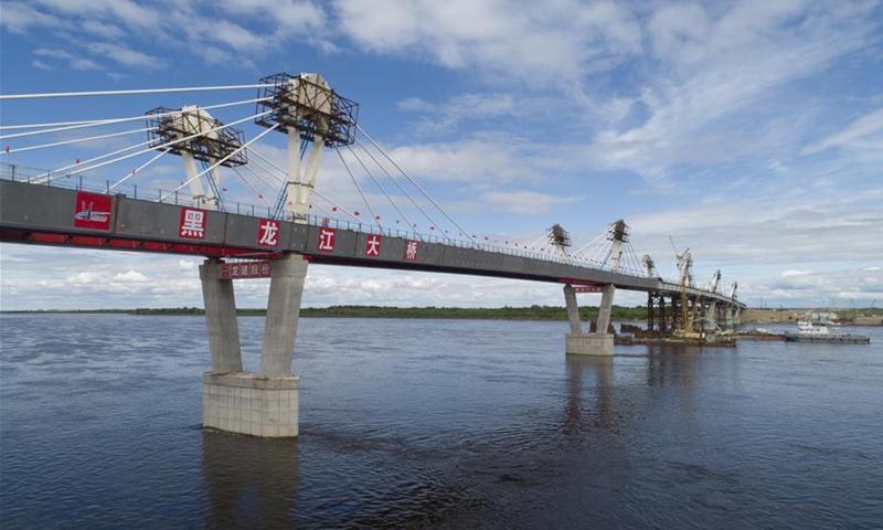 The Blagoveshchensk-Heihe highway bridge in Heihe, Northeast China's Heilongjiang Province Photo:Xinhua