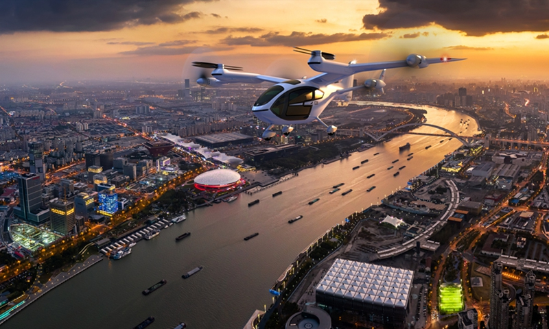 Electric vertical takeoff and landing (eVTOL) aircraft E20 Photo: Courtesy of Shanghai TCab Technology Co