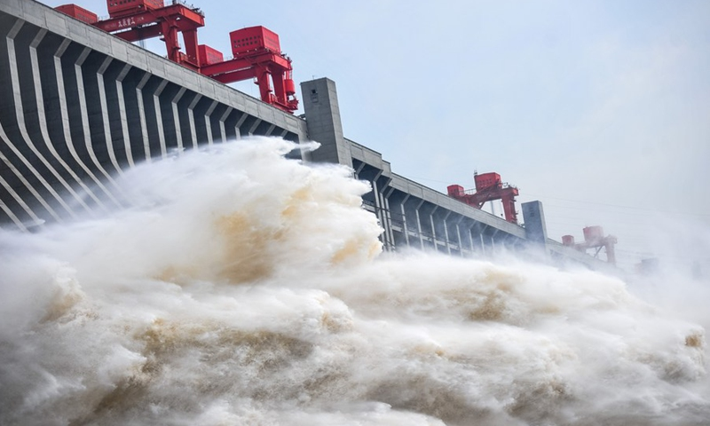 File photo shows water gushing out from the Three Gorges Dam in central China's Hubei Province.(Photo: Xinhua)