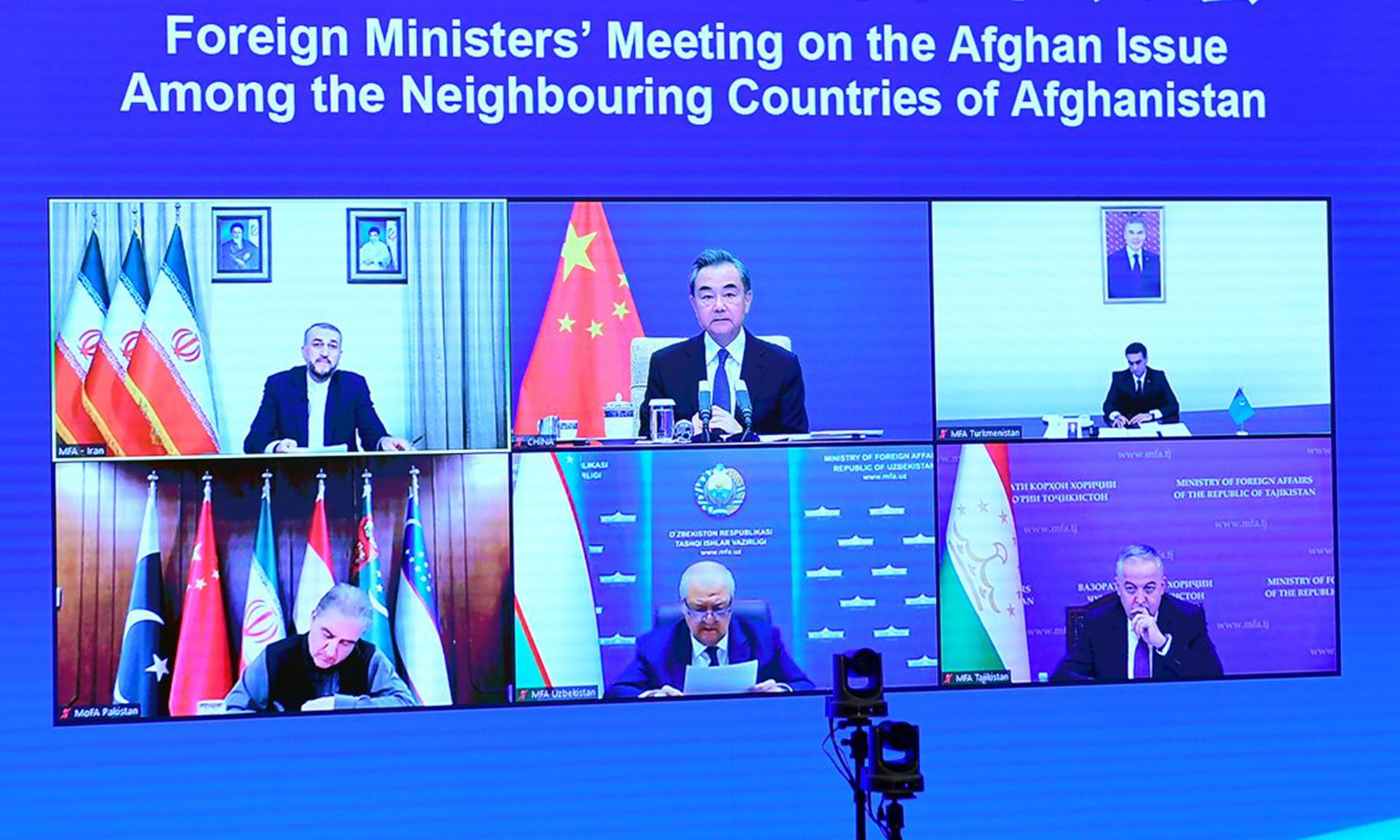 Chinese State Councilor and Foreign Minister Wang Yi addresses at the first Foreign Ministers' Meeting on the Afghan Issue Among the Neighboring Countries of Afghanistan. Photo: Chinese Foreign Ministry