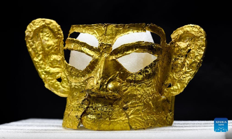 Photo taken on Sept. 2, 2021 shows a golden mask discovered at the No. 3 sacrificial pit of the Sanxingdui Ruins site in southwest China's Sichuan Province. More than 500 pieces of relics have been discovered in recent months at the legendary Sanxingdui Ruins site, dazzling archaeologists with their historical value as well as the display of creativity and ingenuity.Photo: Xinhua