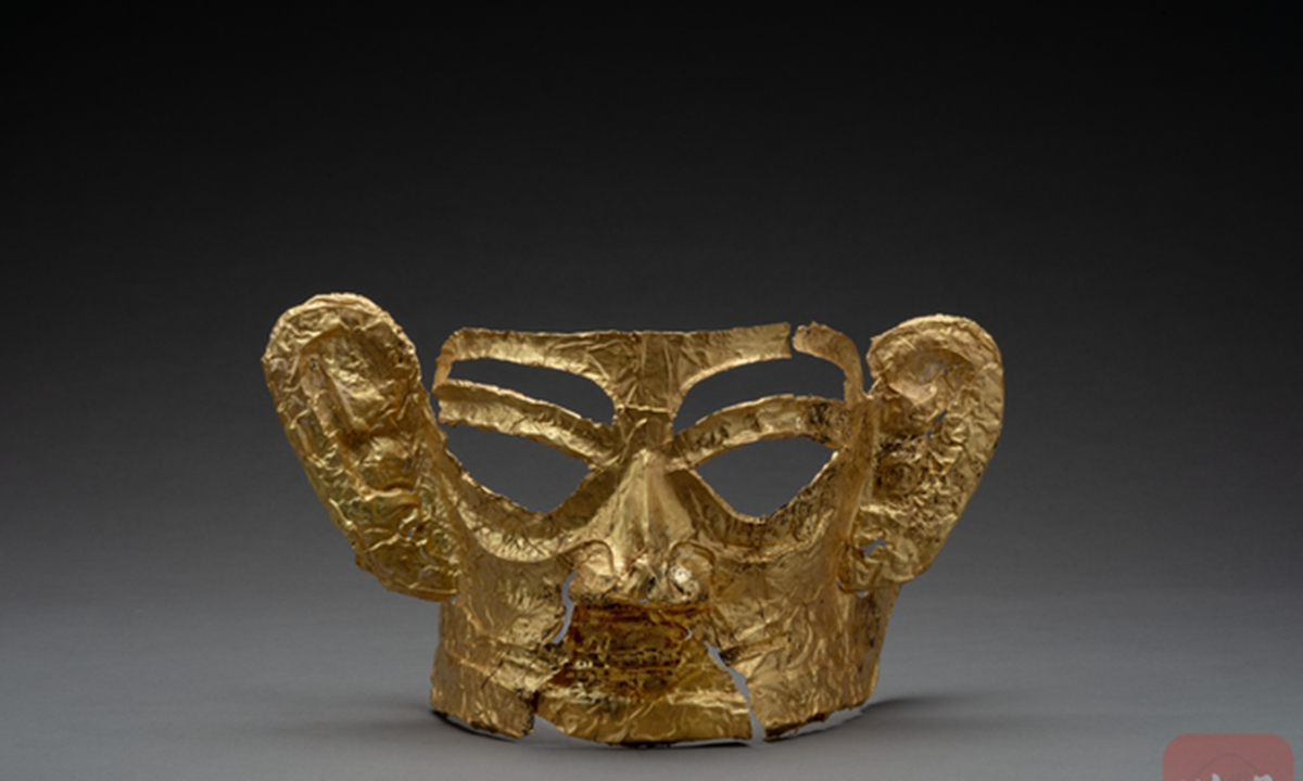 A gold mask unearthed from Sanxingdui Ruins Photo: Courtesy of Sichuan Provincial Cultural Relics and Archaeology Research Institute