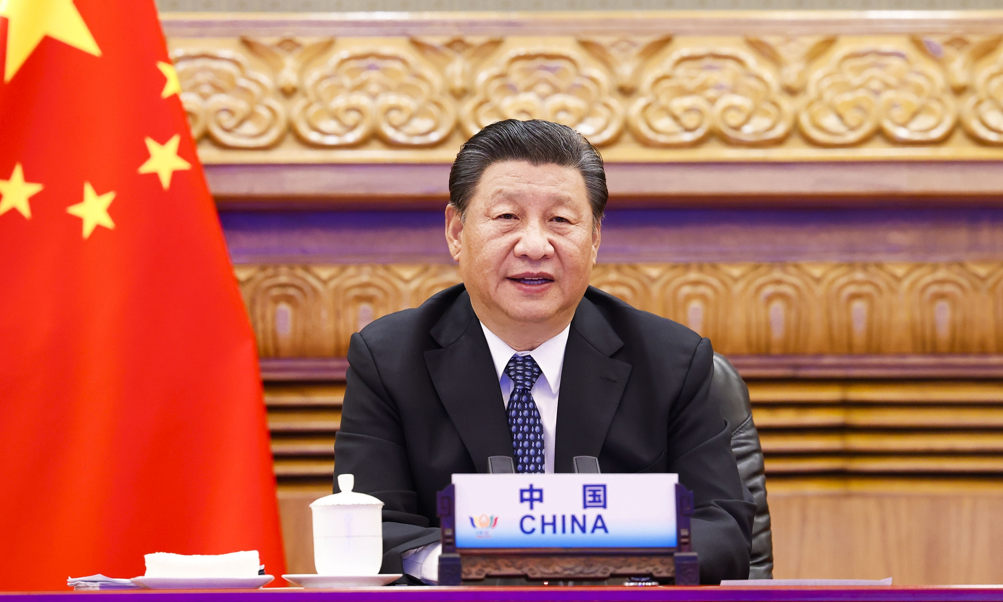 Chinese President Xi Jinping addresses the 13th BRICS Summit on Thursday via video link in Beijing. Photo: Xinhua