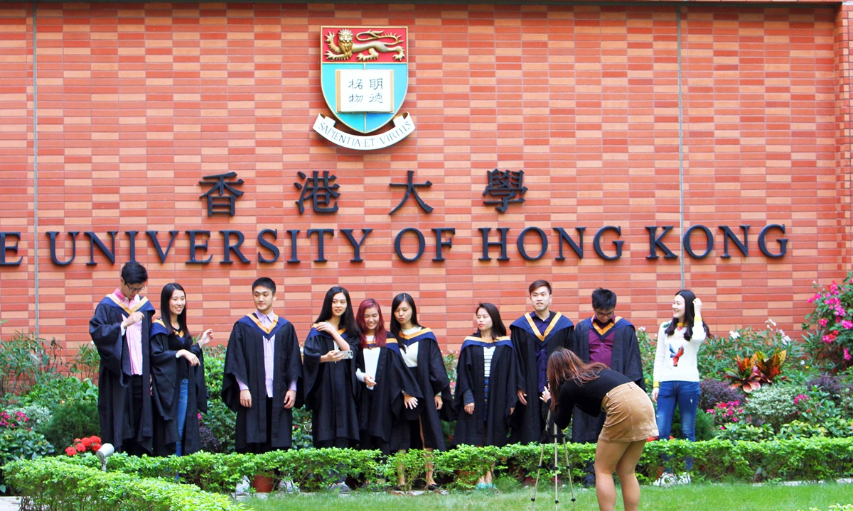 Graduates from University of Hong Kong pose for a picture. File photo: VCG