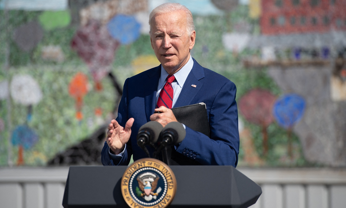 US President Joe Biden speaks about coronavirus protections in schools during a visit to Brookland Middle School in Washington, DC, September 10, 2021. Photo: AFP