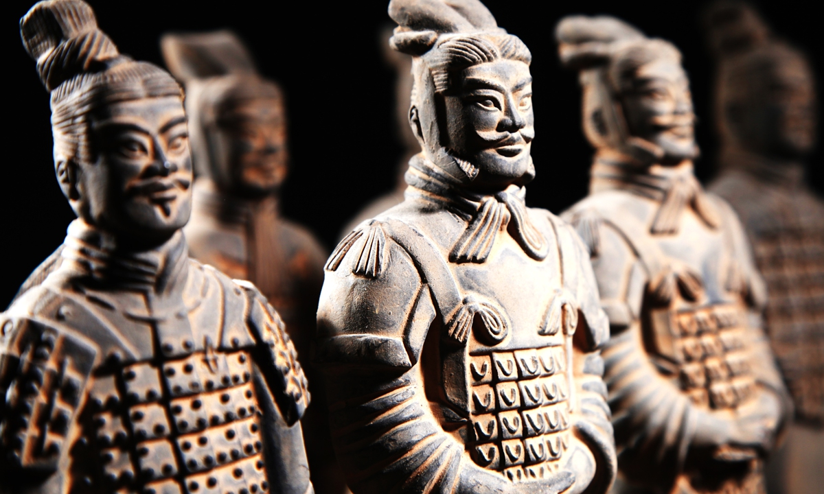 A Terracotta Warrior  Terracotta Warriors  A statue of a Tang maid   The Great Mosque   The ancient city gate tower of Xi'an Photos: VCG  The Muslim street  Biangbiang noodles  Roujiamo Xi'an Olympic Sports Center