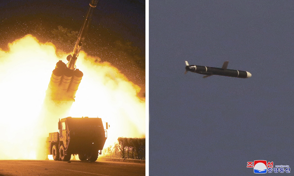 North Korea's official Korean Central News Agency (KCNA) on Monday released a photo showing the test of new type long-range cruise missiles on Saturday and Sunday. Photo: AFP