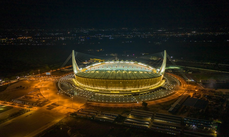 Aerial photo taken on Sept. 9, 2021 shows the China-funded Morodok Techo National Stadium in Phnom Penh, Cambodia. (Photo: Xinhua)
