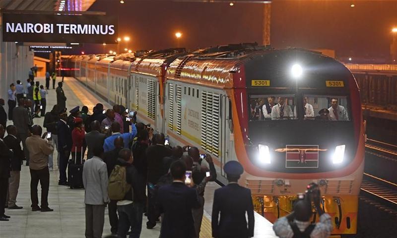 The first train from Mombasa arrives at Nairobi Terminus in Nairobi, capital of Kenya on May 31, 2017.