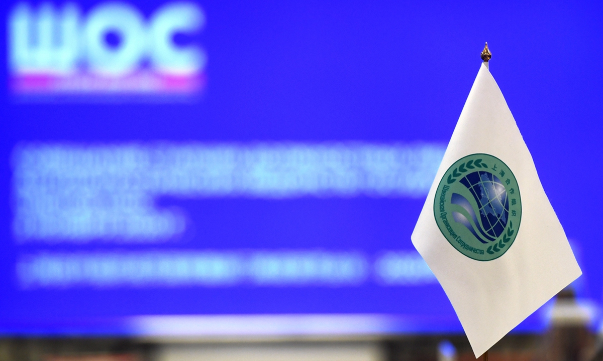A flag with the Shanghai Cooperation Organisation's logo. Photo: AFP