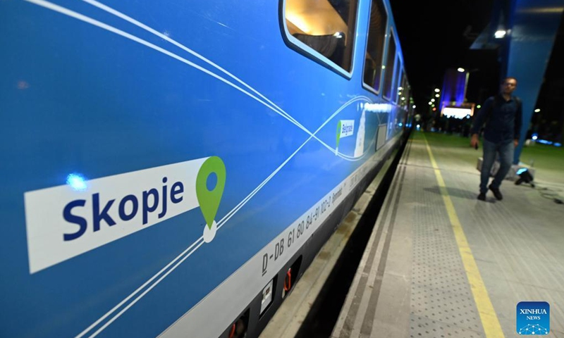 The Connecting Europe Express train arrives in Skopje, North Macedonia, on Sept. 13, 2021. The train started its journey from Lisbon on Sept. 2 and will end the journey in Paris on Oct. 7. Photo:Xinhua