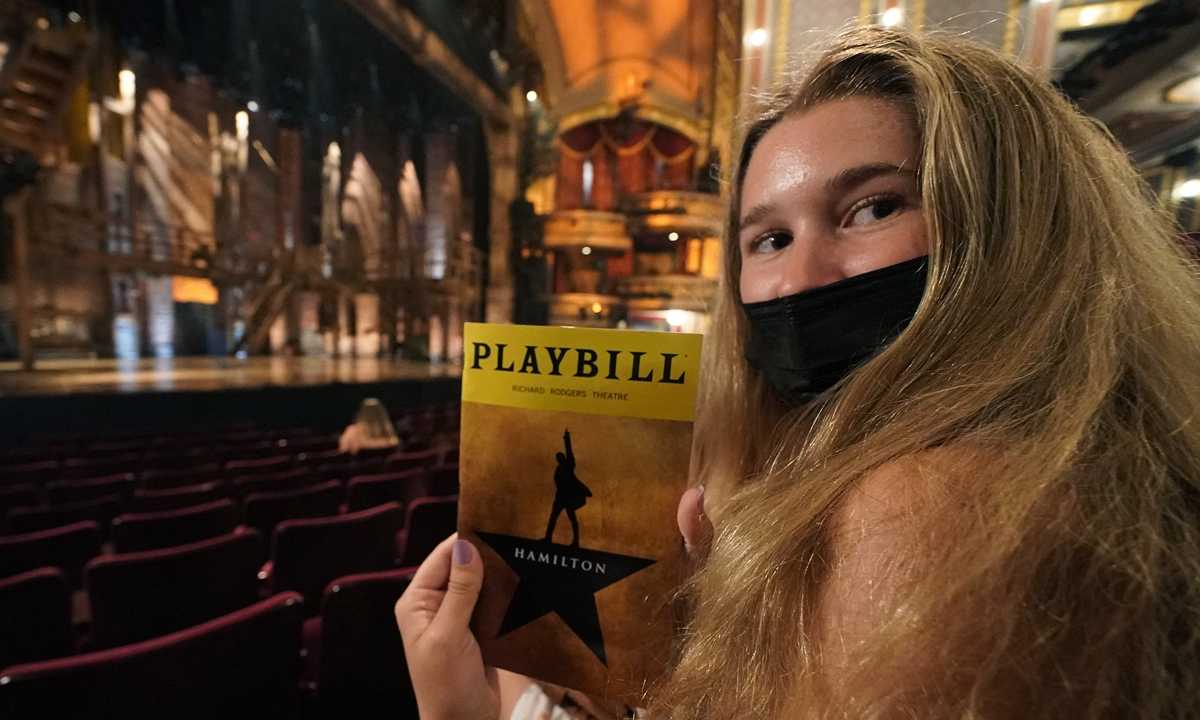 People wait to attend the Broadway musical <em>Hamilton</em> after showing their vaccination cards in New York on Tuesday.  Top: An audience waits for the start of the Broadway musical <em>Hamilton</em> in New York on Tuesday. Photos: AFP