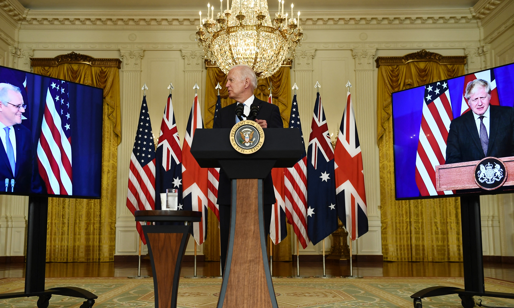 US President Joe Biden participates in a virtual press conference on national security  in the White House in Washington, DC, on Wednesday US time, with British Prime Minister Boris Johnson (right) and Australian Prime Minister Scott Morrison in attendance via video link. Biden announced that the US is forming a new Indo-Pacific security alliance with the UK and Australia. Photo: AFP